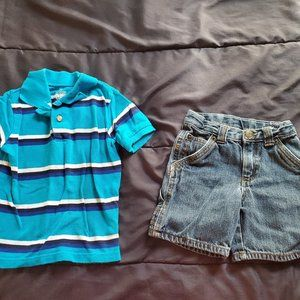Boys 2t denim shorts and polo